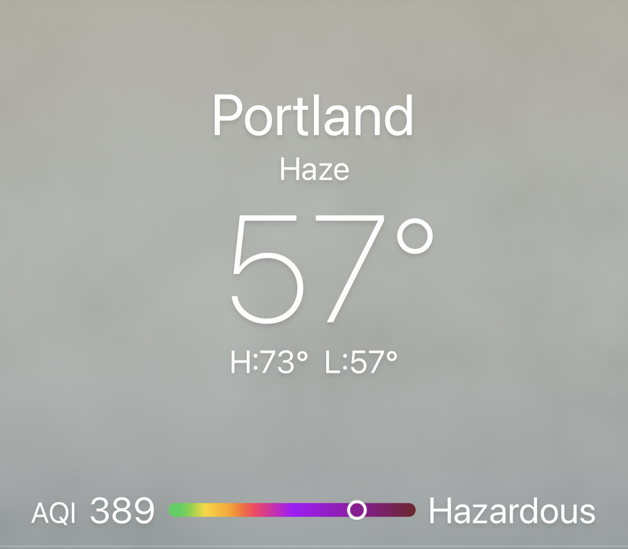 Screenshot of weather app showing Hazardous AQI