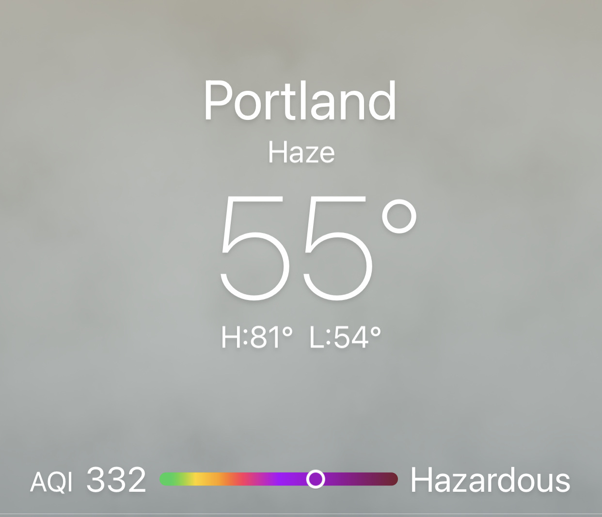 Screenshot of weather app showing AQI of 332 (hazardous).