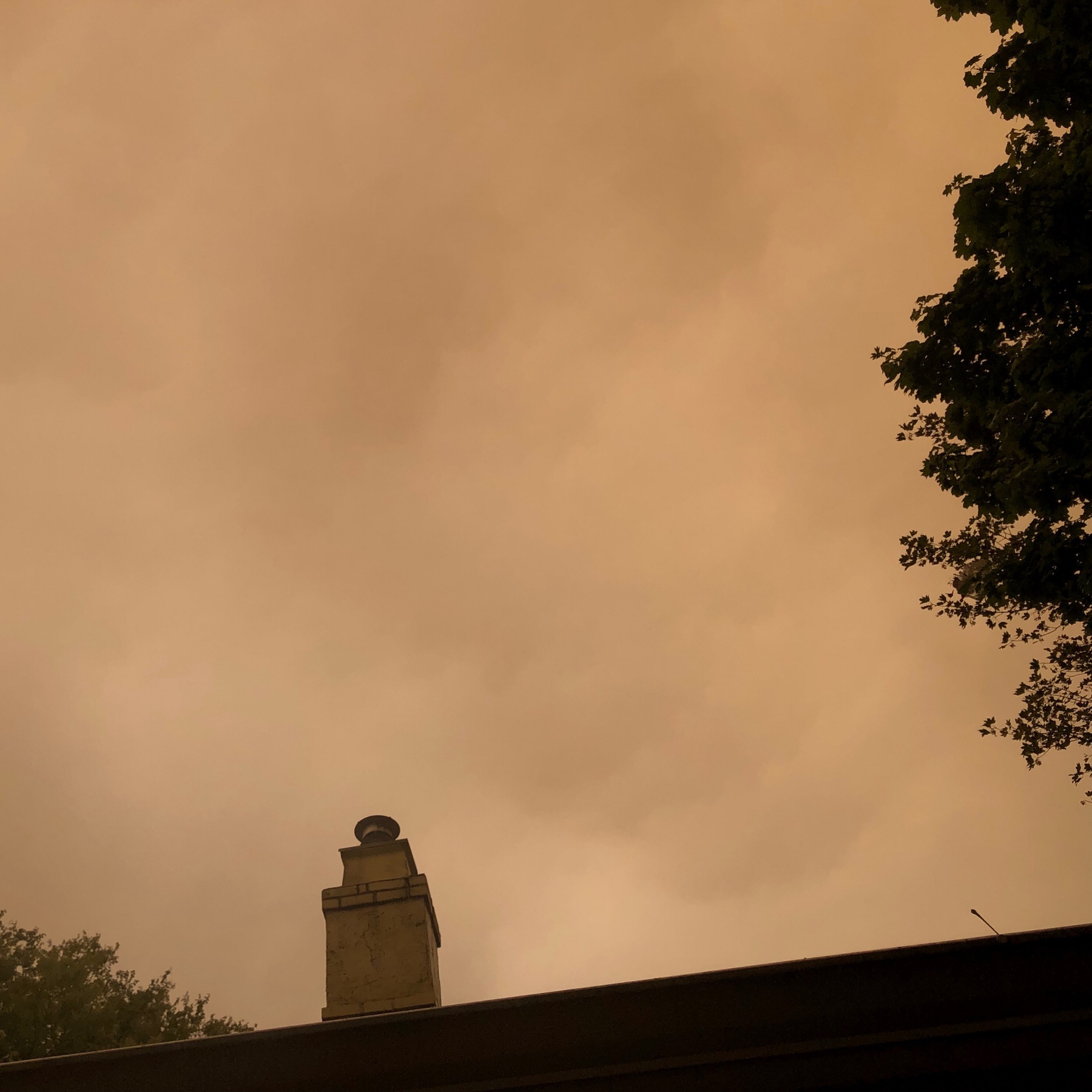 Pale orange sky due to Oregon wildfires